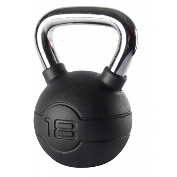 18kg Black Rubber Kettlebell with Chrome Handle