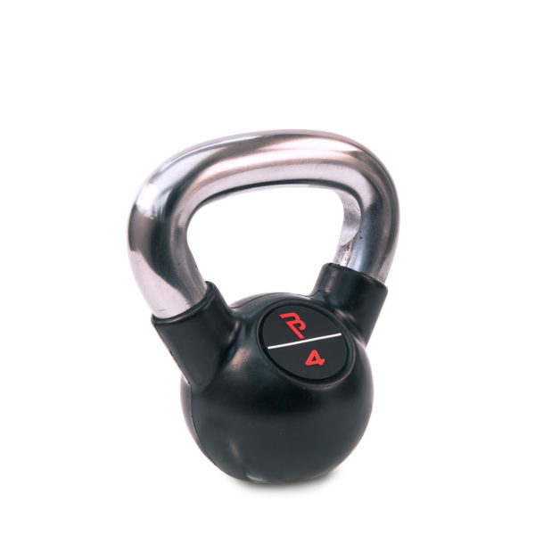 4kg Black Rubber Kettlebell with Chrome Handle