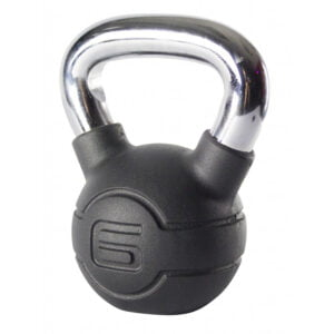 6kg Black Rubber Kettlebell with Chrome Handle