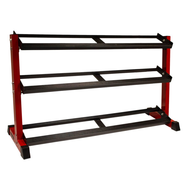 3 Tier Horizontal Dumbbell Rack (Black with Red Side Supports)