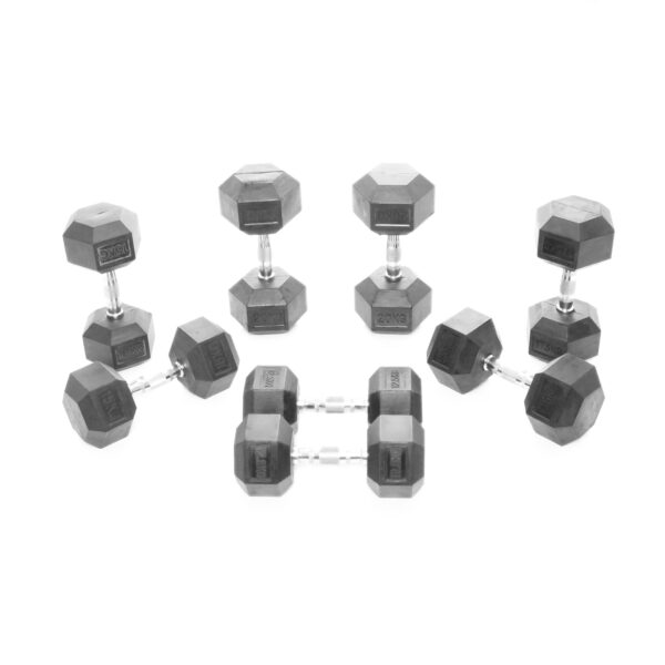 12.5-20Kg Rubber Hex Dumbbell Weight Set